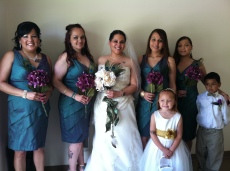 Jessika, soon to be Mrs. Bass, poses with members of her bridal party.