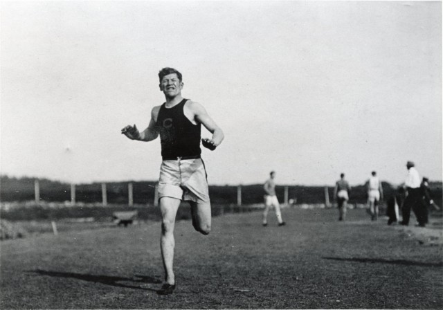 Jim Thorpe in his Carlisle Indian School uniform running at Olympic track practice in Stockholm, Sweden, in July 1912. Credit: Cumberland County Historical Society, Carlisle, Pa.  This photo may not be reproduced in any form.