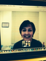 Sandra Whitehead and Karen Lincoln Michel speak via Skype on Feb. 9.