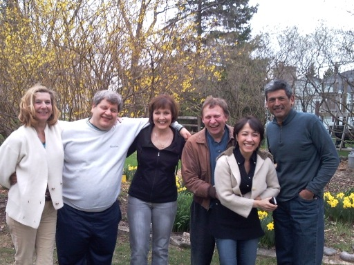 Friends gather at the home of Sandra Whitehead and Aziz Aleiou in Brookfield, Wis., in April 2011. Pictured here from left: Maria Kirylo, Aziz Aleiou, Sandra Whitehead, Ken Reibel, Priya Barnes and Roberto Michel. These friends and others from our graduating class try to get together as often as possible, but it's difficult when some of us live far away from Wisconsin.