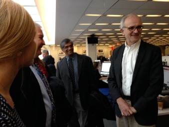Walt Bogdanich, investigative editor and reporter at The New York Times, visits with WCIJ guests after a forward-looking conversation on investigative journalism.