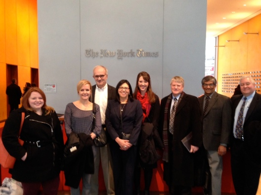 Left to right: Alexandra Tempus, Sara Jerving, Walt Bogdanich, Karen Lincoln Michel, Lauren Fuhrmann, Brant Houston, Hemant Shah and Andy Hall.