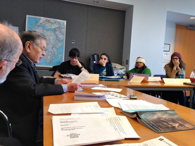 "Students in Northwestern University course ""Native Americans Tell Their Stories"" listen to guest lecturer Charles Trimble, author of the book ""Iveska,"" talk about the role that the federal relocation program had on urban Native Americans."