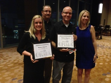 Some of my co-workers and my boss Mike, second from left, pose after CRMA awards ceremony.