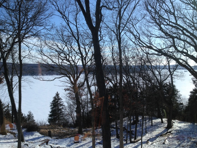 This is the view from the dining room window overlooking Lake Wisconsin in rural Poynette. This was taken during our first few days in the new place.